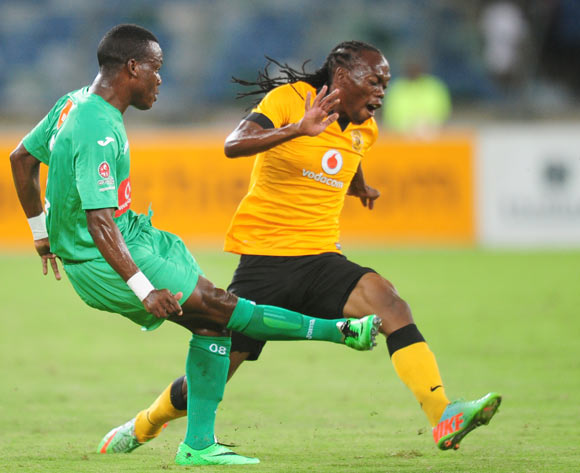 Liberty of Liga Macumalama and Reneilwe Letsholonyane of Kaizer Chiefs during the CAF Orange Champions League 2014/15 football match between Kaizer Chiefs v Liga Muculmana at the Moses Mabhida Stadium in Durban , Kwa-Zulu Natal on the 1st of March 2014