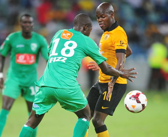 Knowledge Musona of Kaizer Chiefs and Eusebio of Liga Macumalama during the CAF Orange Champions League 2014/15 football match between Kaizer Chiefs v Liga Muculmana at the Moses Mabhida Stadium in Durban , Kwa-Zulu Natal on the 1st of March 2014