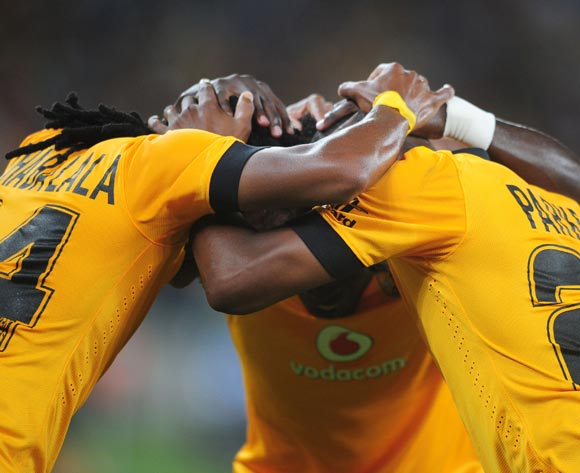 Siphiwe Tshabalala with Bernard Parker and Kingston Nkhatha of Kaizer Chiefs celebrate during the CAF Orange Champions League 2014/15 football match between Kaizer Chiefs v Liga Muculmana at the Moses Mabhida Stadium in Durban , Kwa-Zulu Natal on the 1st