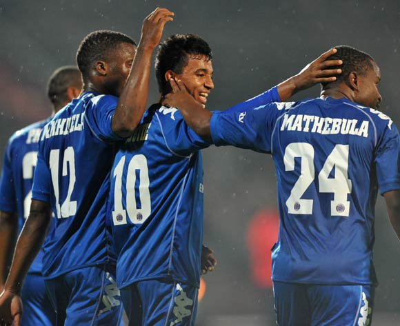 David Mathebula of Supersport United celebrates his goal with his teammates during the CAF Confederations Cup match between Supersport United and AFC Leopards at Lucas Moripe Stadium in Atteridgeville on the 01 March 2014