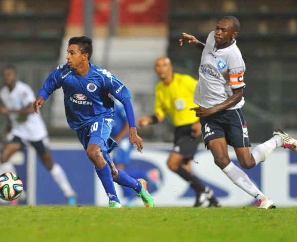 Doutie Sameehg of Supersport United challenged by Martin Imbalabala of AFC Leopards during the CAF Confederations Cup match between Supersport United and AFC Leopards at Lucas Moripe Stadium in Atteridgeville on the 01 March 2014
