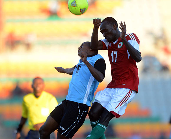Kabelo Seakanyeng of Botswana battles with Cedric Amissi of Burundi during the 2015 African Cup of Nations Qualifier match between Botswana and Burundi on the 01 June 2014 at Lobatse Sports Complex in Botswana