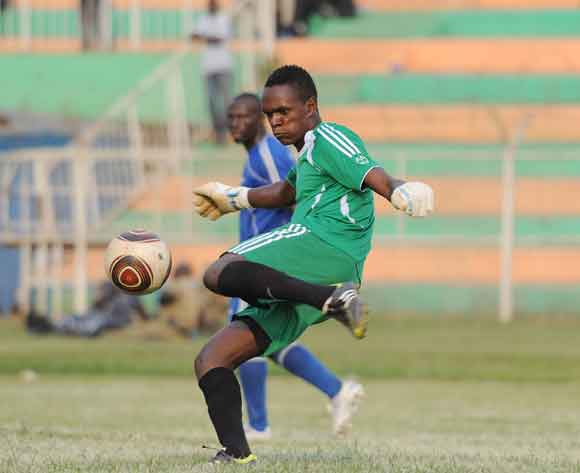 Sulaiti Luyima, Soana FC goalkeeper kicks the ball during their 2014 Fufa Super League game against SC Villa at Nakivubo Stadium, Kampala on 07 February 2014 ©Ismail Kezaala/BackpagePix
